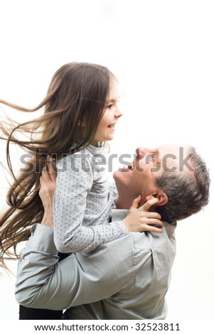 Grandfather and granddaughter in an embrace - stock photo