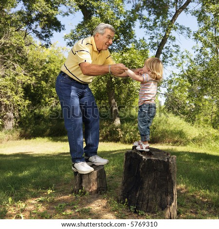 Grandfather and granddaughter playing outside holding hands balancing on stumps. - stock photo