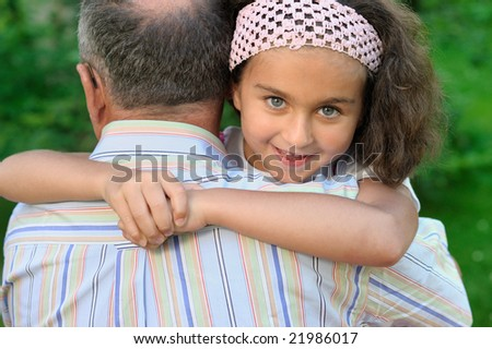 Grandfather and kid - stock photo