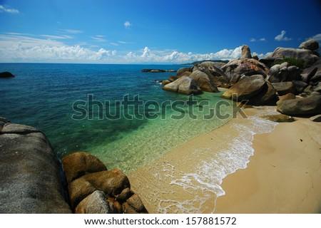 Grandfather rock and Grand mother rock, Lamai beach, Koh Samui - stock photo
