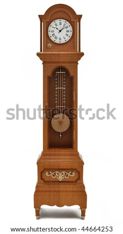 Grandfather's clock on white background - stock photo