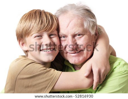 grandfather with boy  isolated on white