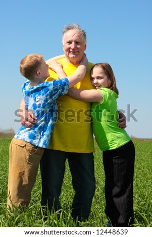 grandfather with children outdoor