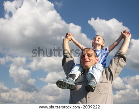 grandfather with grandson - stock photo