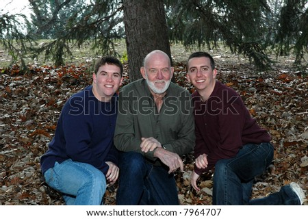 grandfather with grandsons - stock photo