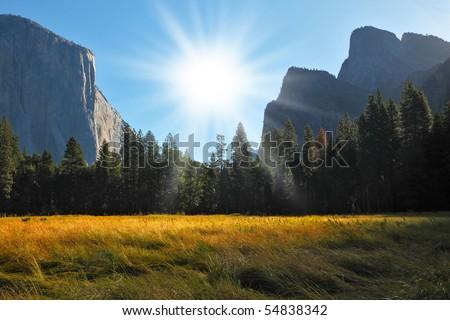 Grandiose landscape in a valley world-wide well-known Yosemite park. Sunrise, autumn - stock photo