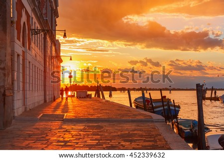 Grandiose sunset on the canal Cannaregio in Venice, Italy - stock photo