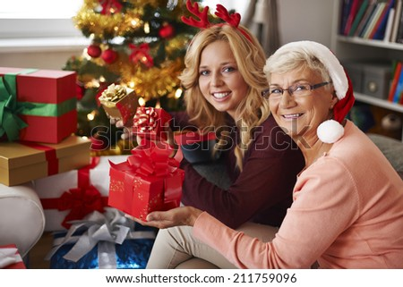 Grandma always visits us at Christmas  - stock photo