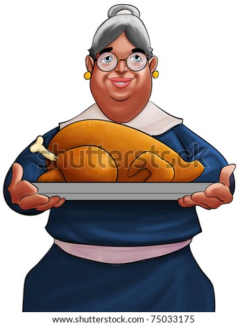grandma with a delicious roasted and big turkey - stock photo
