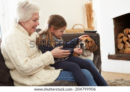 Grandmother And Granddaughter Relaxing At Home With Pet Dog - stock photo