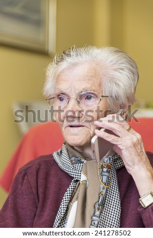 grandmother calling by phone for business