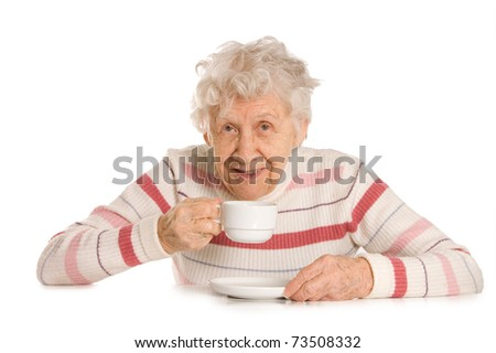 Grandmother from coffee  isolated on white background - stock photo