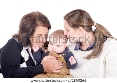 grandmother, mother and baby isolated in white - stock photo