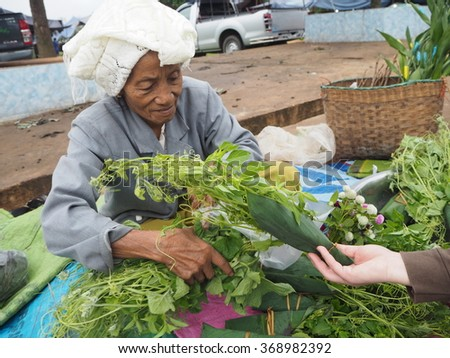 Grandmother sell vegetables in the market at Lakteng ,Weinghang, Chaingmai ,Thailand