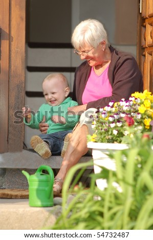Grandmother with Child - stock photo