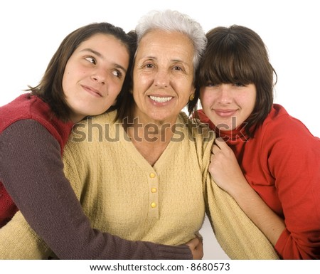 Grandmother with grandchildren - stock photo