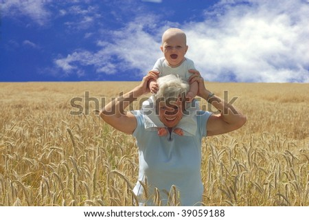 Grandmother with Grandson - stock photo