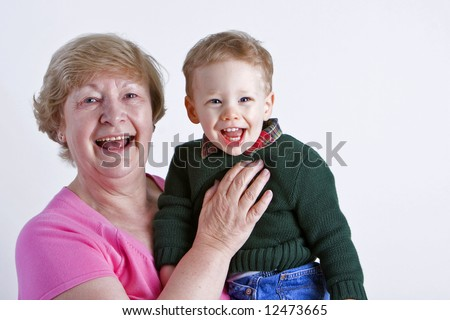 Grandmother with smiling grandson - stock photo