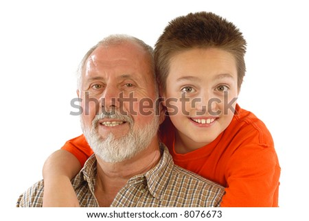 Grandparent and his little gransdson posing for a fun family portrait - stock photo