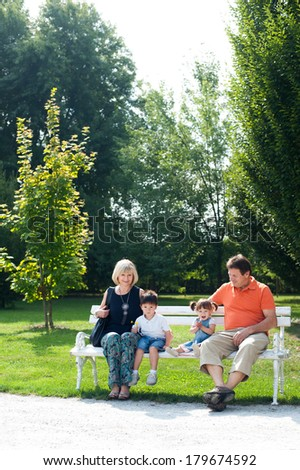 Grandparents and their grandchildren are sitting on the bench in the park - stock photo