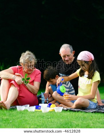 Grandparents enjoying the summer outdoor entertaining the grandchildren. - stock photo