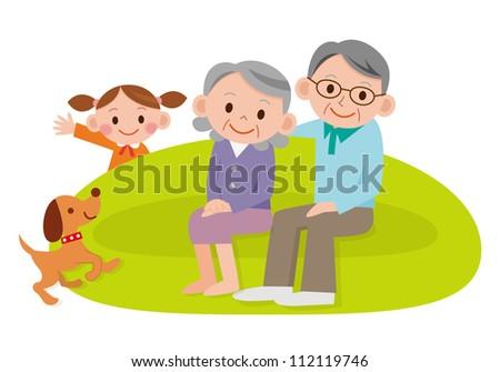 Grandparents laughing with grandchildren - stock photo