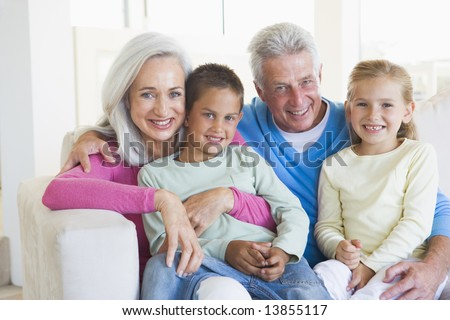 Grandparents posing with grandchildren