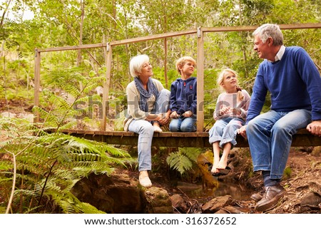 Grandparents sitting with grandkids on a bridge in a forest - stock photo