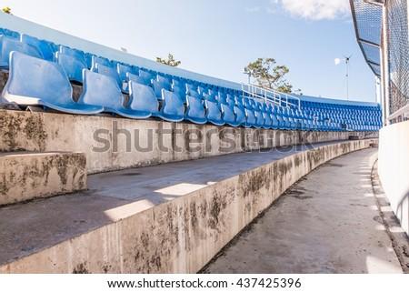 grandstand in stadium.blue stadium football field in Daytime .soccer.football euro - stock photo