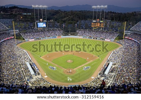 Grandstands overlooking home plate at National League Championship Series (NLCS), Dodger Stadium, Los Angeles, CA on October 12, 2008 - stock photo