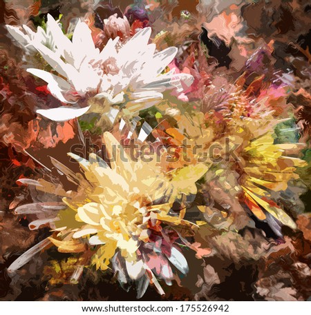 Grange stained colorful abstract floral  background with chrysanthemums - stock photo