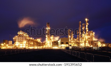 Grangemouth oil refinery at night.