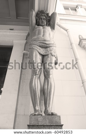 Granite Atlas Guarding the Hermitage Museum (St. Petersburg, Russia) - stock photo