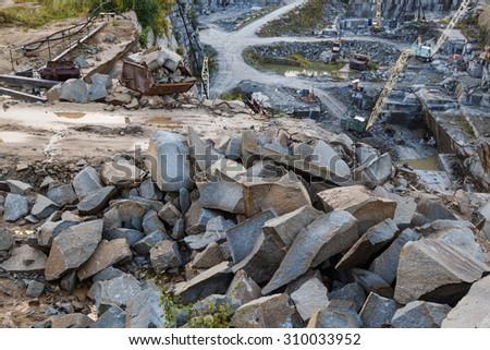 Granite quarry in the summer Ural Ekaterinburg - stock photo