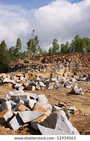 Granite quarry mining - stock photo