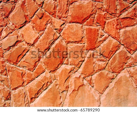 Granite red wall - stock photo
