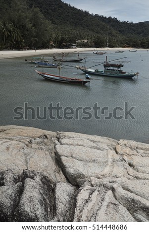 Granite rocks, boats and Thong Nay Paan Yai beach, Koh Phangan island, Thailand