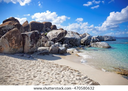 Granite rocks in The Baths Virgin Gorda, British Virgin Island (BVI), Caribbean