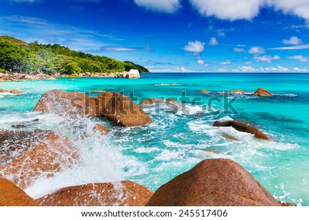 Granite rocks on the beach, the Seychelles - stock photo