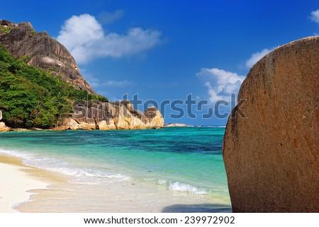 Granite rocky beaches on Seychelles islands, La Digue, Source D'Argent - stock photo