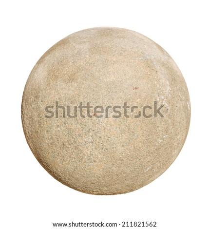 Granite stone ball isolated on white background. - stock photo