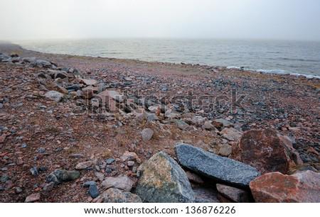 Granite stones landscape in Kronstadt near St. Petersburg, Russia - stock photo