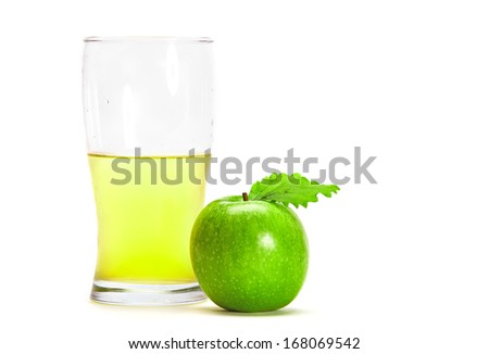 Granny Smith Apple with a glass of fresh Apple Juice - stock photo