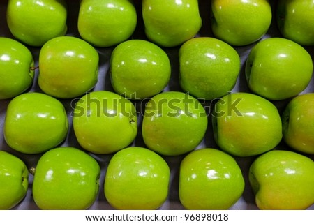 Granny Smith Apples in a fruit packing warehouse - lined up on a packing tray