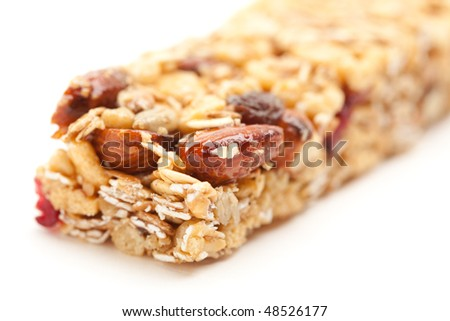 Granola Bar Isolated on a White Background with Narrow Depth of Field. - stock photo