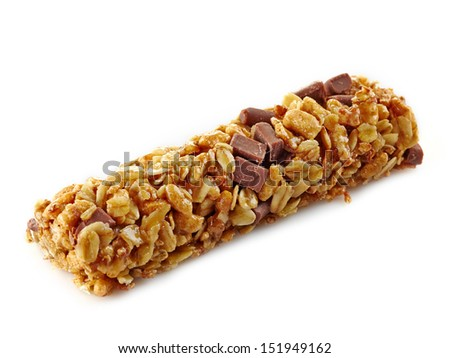 Granola bar with chocolate on white background - stock photo