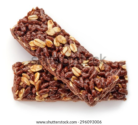 Granola bar with cocoa isolated on white background - stock photo
