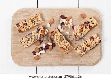 Granola bars with various nuts, seeds and cranberries