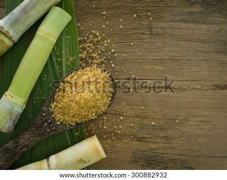 granulated brown sugar produced from sugar cane. Agriculture Industry concept - stock photo
