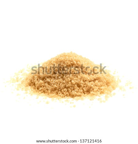 Granulated raw brown cane sugar pile on white background - stock photo